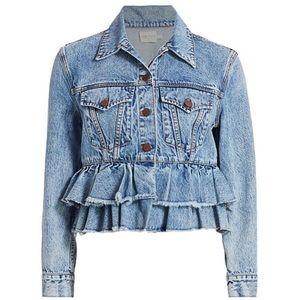 Alice + Olivia jeans jacket flounce size s